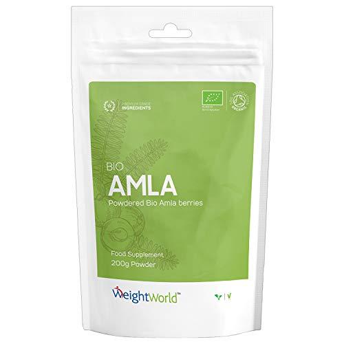 Bio Amla Pulver - Premium Qualität Amalaki Naturprodukt - Reine Indische Stachelbeere mit Vitamin C - Mit Mineralstoffe & Antioxidantien - Für gesunde Haare, Haut & Herz - 200g Ayurveda Pulver Vegan