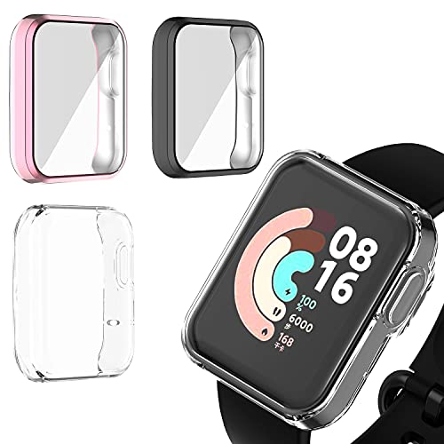 Braleto 3 Stück Hard Hülle Kompatibel mit Xiaomi MI Watch Lite, Ultradünne Blasenfreie PC All-Around Schutzhülle für Xiaomi MI Watch Lite