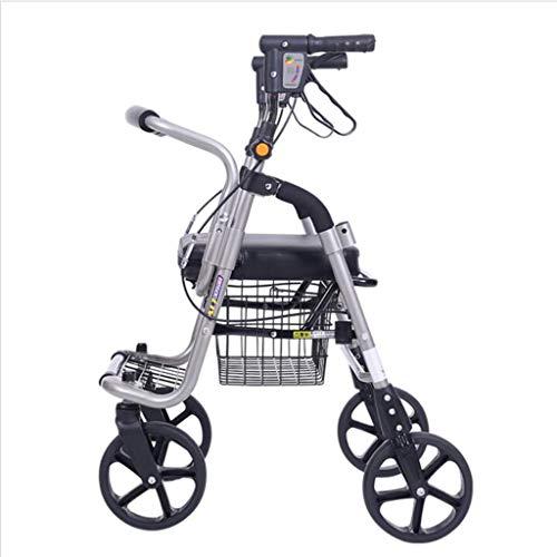 Rollator Andador Ligero Plegable de Cuatro Ruedas, fácil de almacenar y Transportar, ayudas para la Movilidad, Altura Regulable y con Freno de Bloqueo