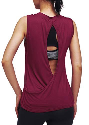 Mippo Workout-Tops, offener Rücken, Muskeln, Yoga, Tennis, Trainings-Tanks für Frauen - Rot - Groß