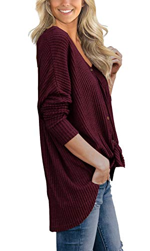 Fashion Shopping IWOLLENCE Womens Waffle Knit Tunic Blouse Tie Knot Henley Tops Loose Fitting Bat