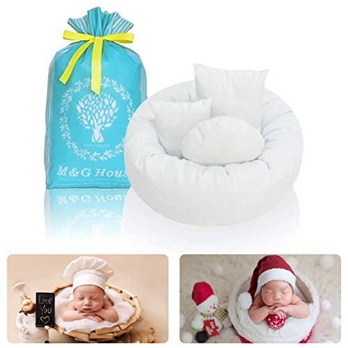 4PC Newborn Photo Props | Baby Photography Basket Pictures | Baby Shower Gift | Infant Posing Props (1 Photo Donut and 3 Posing Pillows) Fits 0-3 Month