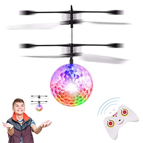 Rigma Flying Ball Toys, Induction Hover Remote Control Helicopter Toy Plane | Rechargeable RC Toy for Kids Boys & Girls | Light Up Ball Drone | for Kids Teenagers Adults Games Gift (Disco Ball)