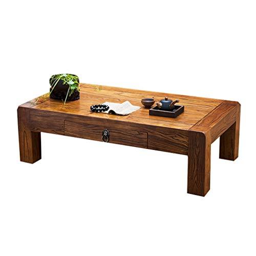 Tables Balcon Baie Fenêtre Salon Basse Basse en Bois Tatami Basse Multifonctionnel Simple Basse en Bois Massif Basses (Color : Brown, Size : 60 * 40 * 30cm)