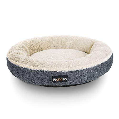 FEANDREA Hundebett, Hundekorb, Katzenbett, Donut, Ø 55 cm, dunkelgrau PGW055G01