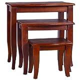 JXJ Mesas auxiliares 3 Piezas, Juego de 3 mesas de Centro, mesas Grandes Medianas pequeñas, 3 tamaños de Madera de Caoba Maciza marrón clásica