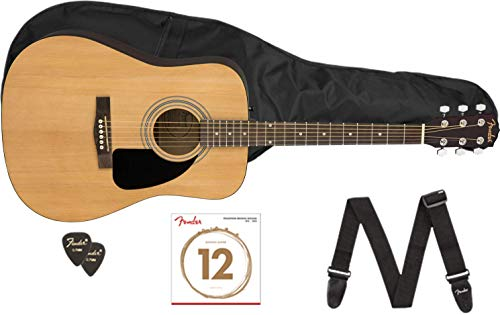 Fender FA-115 Beginner Dreadnought Pack, Natural with Gig Bag, Strings, Strap, Picks, and Fender Play