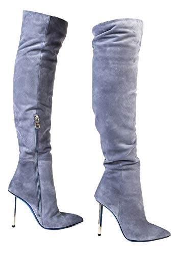 Loriblu 6446 Suede Italian Designer Over Knee Boots Light Blue