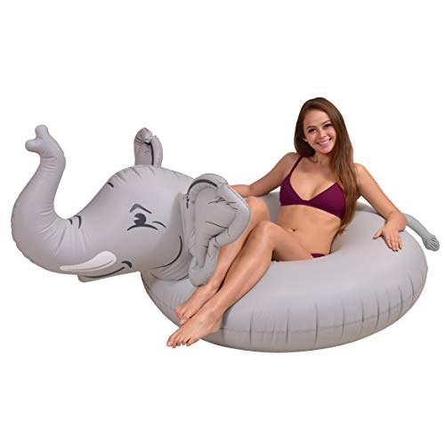 GoFloats Trunks The Elephant Party Tube Inflatable Raft - Fun Pool Float for Adults and Kids, Gray