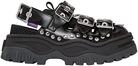 ZAIXO Summer Women's Sandals Platform Women's Shoes Ins Hot Sponge Cake Old Shoes Rivets Baotou Trekking Shoes Flats Women Sandals (Color : Black, Shoe Size : 4)