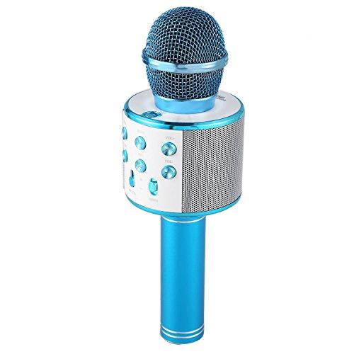 REFURBISHHOUSE Wireless Microfono Karaoke Bluetooth Portatile Mini KTV casa per la Musica suonando e cantando Altoparlante del Giocatore Selfie PC del Telefono Blu