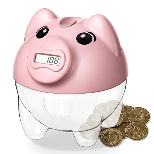 Younion Piggy Bank for Kids, Digital Counting Coin Bank, Automatic Coin Counter Totals All U.S. Coins, Money Saving Jar with LCD Display, Pink