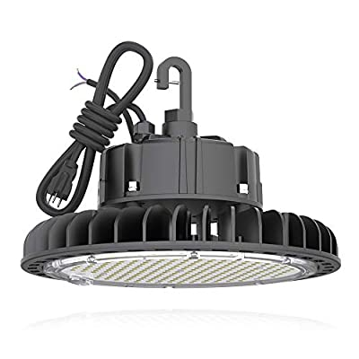 HYPERLITE 14000LM?100W? Dimmable LED UFO High Bay Lighting UL/DLC Premium Listed   Warehouse Commercial Grade   US Hook Included   Alternative to 450W MH/HPS   5 Yr Warranty, 100W/14,000LM, 4000K