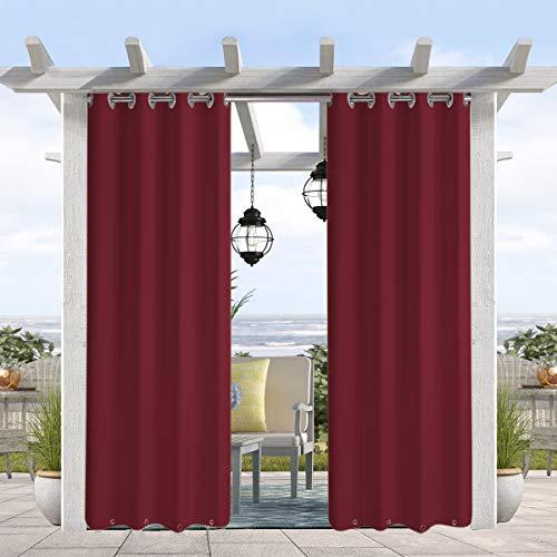 Pro Space Wasser- und windabweisender Outdoor-Vorhang, Thermo-isolierte Ösen oben und unten, Sichtschutz-Panel für Terrasse, Veranda, Pavillon, Cabana, 127 cm B x 274,3 cm L, Weinrot