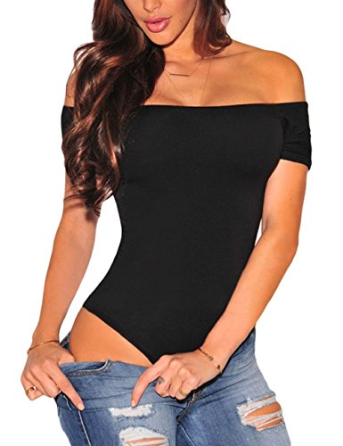 SEBOWEL Body con Hombros Descubiertos para Mujer, Manga Corta, Sexy, Elegante, con Espalda Descubierta, Camiseta para Mujer (S, Negro)