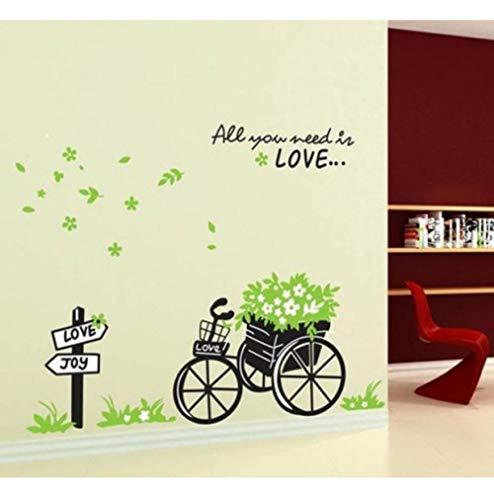 Olivialulu Verwijderbare muurstickers/Home Decoratie/Decor driewieler Draagbloemen met Engels gedicht voor Liviing Room Kleurgrootte kan worden aangepast
