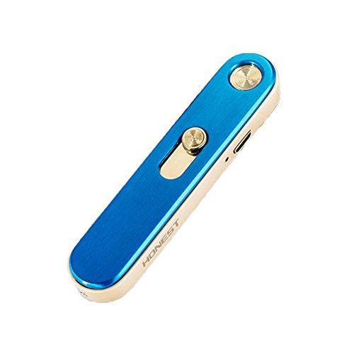 XMDZ XMDZ USB Wiederaufladbar Elektronische Feuerzeuge Flammenlosen Windproof Edelstahl Schlüsselanhänger Zigarettenanzünder Kein Gas Multifunktionale für Outdoor Zuhause Küche, Grau & Gold Blau