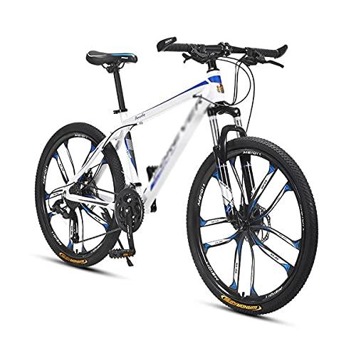 Bicicleta de montaña con Cuadro de Acero al Carbono Bicicleta para niños, niñas, Hombres y Mujeres Engranaje de 24/27 velocidades Ruedas de 26 Pulgadas para un Camino, senderos y montañas (tamaño: 27