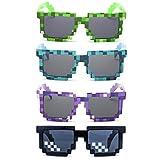 Kilofly Lot de 4 paires de Lunettes de soleil 8 bits, motifs pixels jeux vidéo, verres anti-UV, pour adultes et enfants, idéales comme cadeaux lors de fêtes