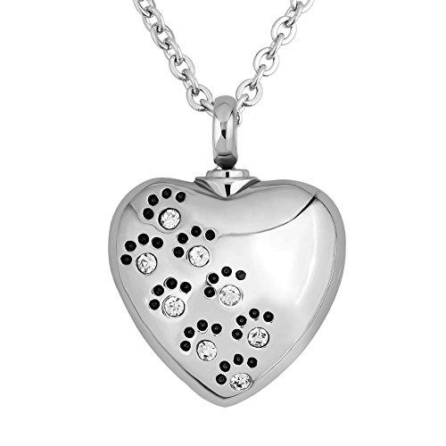 Korliya Heart Love Pet Paw Prints White Urn Necklace For Ashes Memorial Keepsake Pendant Cremation Jewellery