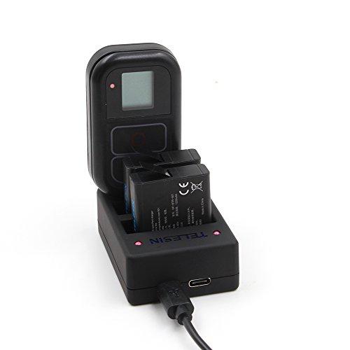TELESIN Batteria di ricambio 2 pacchi con caricabatterie multifunzione per GoPro HERO5 nero, Hero4 Silver, Hero4 Nero (Multi Charger per Hero5 / Hero4 + 2 batterie per Hero 5 Black)