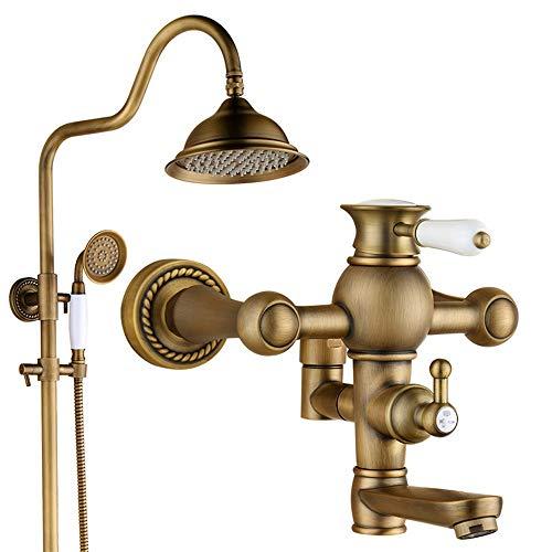 Cabezales de ducha Accesorios de cobre ligeros de lujo Hotel Engineering Home Conjunto de ducha multifunción de pared de tres velocidades Ducha antigua