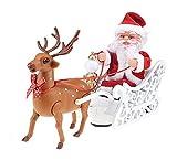 GDYJP Juguetes de Adornos navideños, Juguetes de música eléctrica, Ciervos Moose trineos de trineos Santa Claus Muñeca, en Trineo Navidad for niños, Regalos de año Nuevo, decoración de Mesa