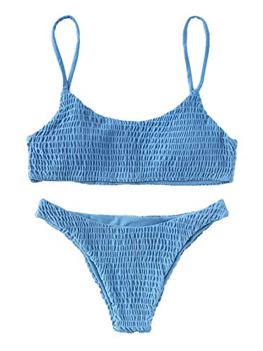 Verdusa Women's 2 Peices Bathing Suit Smocked Wireless Bikini Bandeau Top Thong Swimsuit Blue M