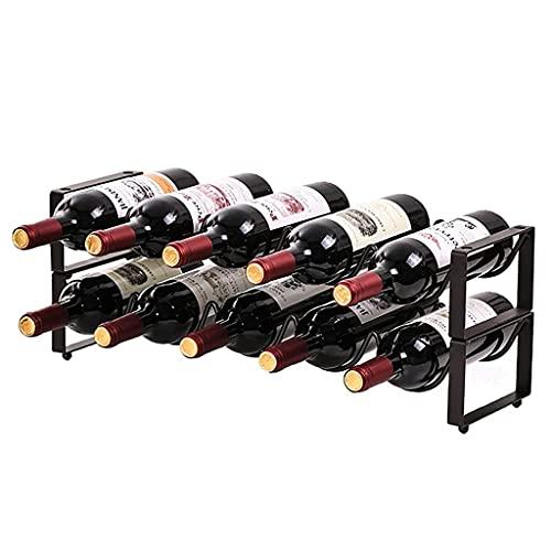 CZYNB Estante de Vino apilable de encimera, Organizador de Botellas de Vino Independiente, Soporte de Almacenamiento de Botellas de Vino del gabinete para Sala de Estar, despensa, Bodega