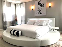 cheap Oslo round bed with headboard light Queen size (white)