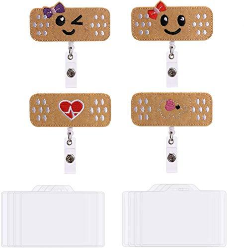 OOTSR Paquet de 4 cartouches d'infirmières rétractables avec 8 porte-badge horizontaux (3,7''x2,4 ''), porte-badge nominatif pour femme et pinces badge pour personnel de bureau/banque hôpital
