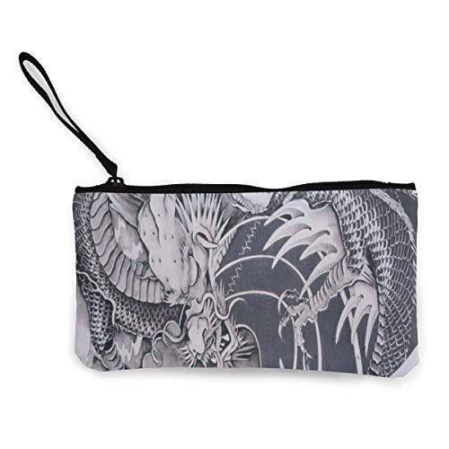 Unisex Wallet, Coin Bags, Canvas Coin Purse Chinese Tattoos Designs Customs Zipper Pouch Wallet for Cash Bank Car Passport