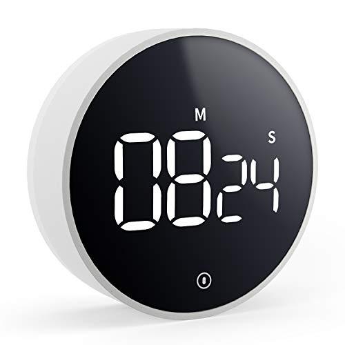 VOCOO Minuterie de cuisine numérique, minuterie de compte à rebours magnétique, volume à 3 niveaux, aimant puissant, 2 coussinets antidérapants, grand écran LED, pour le travail à domicile en classe