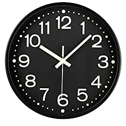 Fasmov 12 Inch Modern Night Light Wall Clock, Silent Non-Ticking Quartz Wall Clocks, Battery Operated, Easy to Read for Home Office School Decor Clock, Black