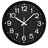 Fasmov 12 Inches Modern Night Light Wall Clock, Silent Non-Ticking Quartz Wall Clocks, Battery Operated, Easy to Read for Home Office School Decor Clock, Black