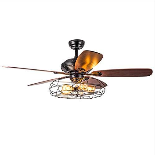 Luz silenciosa moderna del ventilador Ventilador de techo con luz de 42 pulgadas Industrial Ventilador de techo aspas de madera de época jaula de la lámpara de la luz del ventilador con control remoto