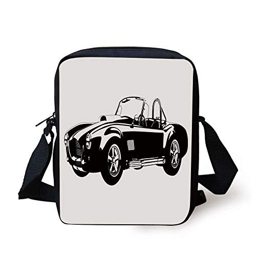 Cars,American Authentic Aged Vehicle with Stylized Wealth Properties Engine Icon Print Decorative,Black White Print Kids Crossbody Messenger Bag Purse