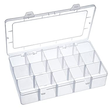 Outus Crafts Organizer Storage Box for Washi Tape, Art Supplies and Sticker, 15 Compartments, Clear