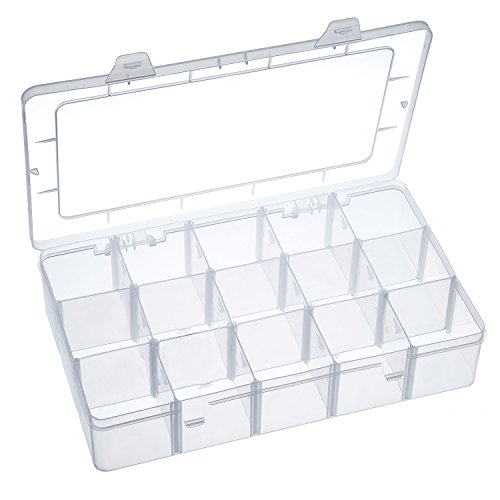 Outus Washi Tape Organizer Sticker Storage Bead Organizer Crafts Box Organizer, 15 Compartments, Clear