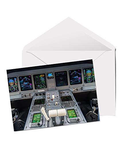 #15658 Grußkarte, Flugzeug-Cockpit, A5, blanko, für Geburtstag