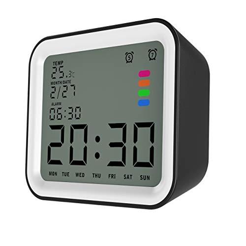 """MoKo LCD Digital Reloj Despertador Cuadrado, Reloj Alarma Inteligente de 3.5\"""" Pantalla LCD con Fecha Temperatura, Sensor de Luz, Función Snooze y de Repetición - Negro + Blanco"""