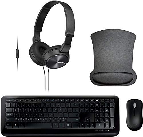 Microsoft Wireless 850 Remote Work Bundle with Wireless Keyboard, Mouse, Headset with Microphone, and Gel Mousepad
