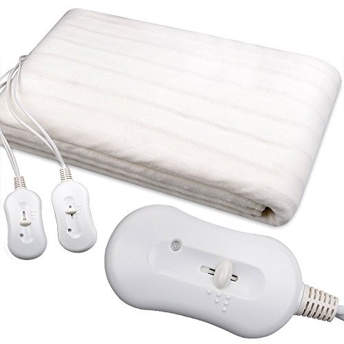 SILVANO Manta eléctrica Doble Cama de Matrimonio 160X140 2 x 60watios Protección automatica contra Calentamiento - 2 Niveles Temperatura - Doble Interruptor - Lavable a Maquina