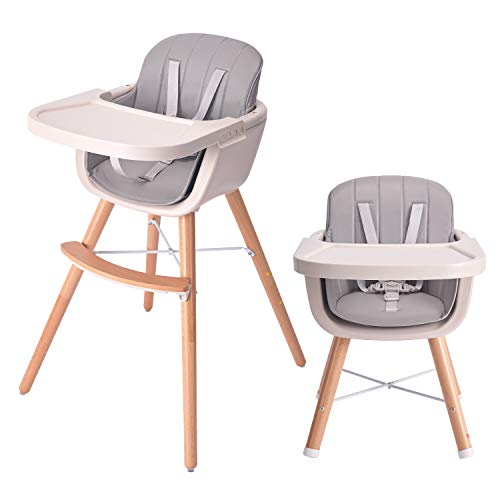 HAN-MM Baby High Chair with Removable Gray Tray, Wooden High Chair, Adjustable Legs, Harness, Feeding Baby High Chairs for Baby/Infants/Toddlers Style 2 Grey