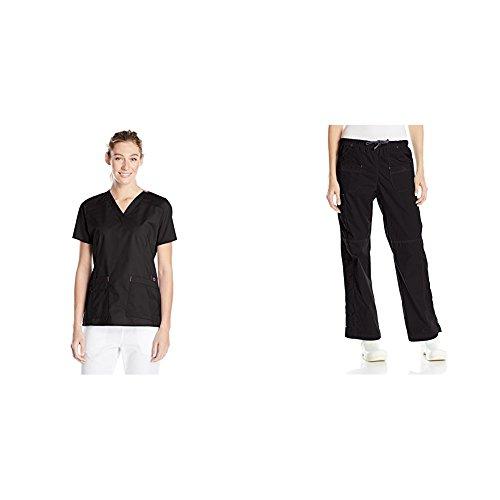 WonderWink womens Top and Bottom medical scrubs apparel sets, Black, Medium Tall US