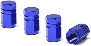 iJDMTOY (4 Tuner Racing Style Blue Aluminum Tire Valve Caps (Hexagon Shape)