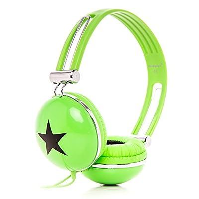 RockPapa Adjustable Stereo Star Kids Headphones Earphones, Over Ear, Headphone for Girls Boys Teens Childs Adults, Soft Earpad, Deep Bass for MP3 MP4 DVD iPod iPad iPhone Tablets Laptop TV Green