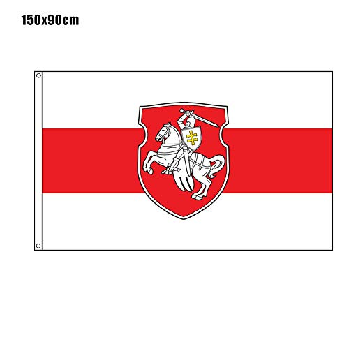N/L Belarus Original Pagonya Flagge, 60x90CM / 150x90CM Weiß-Rot-Weiß mit Ritter-Emblem