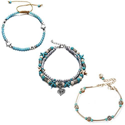 EVBEA Bracelet Cheville Femme Chaine 3 Paquets Réglable Boho Perles Mer Charm Plage Pieds Nus Bleu Arbre Tag Étoile De Mer Coeur Turquoise Pied Bijoux Cheville pour Filles