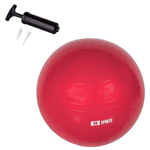CalmaDragon Pelota de Pilates 55cm / 65cm / 75cm Diámetro, Balón para Embarazadas, Fitball, con Inflador Incluido, Bola Grande para Yoga, Gimnasia, Fitness (Rojo, 55)